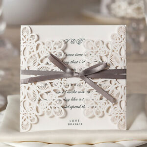 Details About Elegant Flower Lace Quince Wedding Invitations Invites Card Kit Laser Cut Square