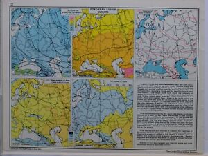 1961-SOVIET-MAP-EUROPEAN-RUSSIA-CLIMATE-ISOTHERMS-TEMPERATURE-DURATION-SNOW