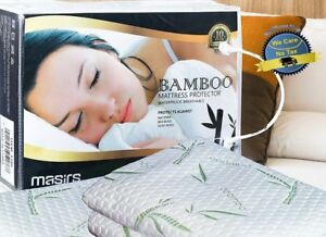 Bamboo Mattress Protector All Sizes Cover Bed Bug Dust Mites Waterproof Soft Pad