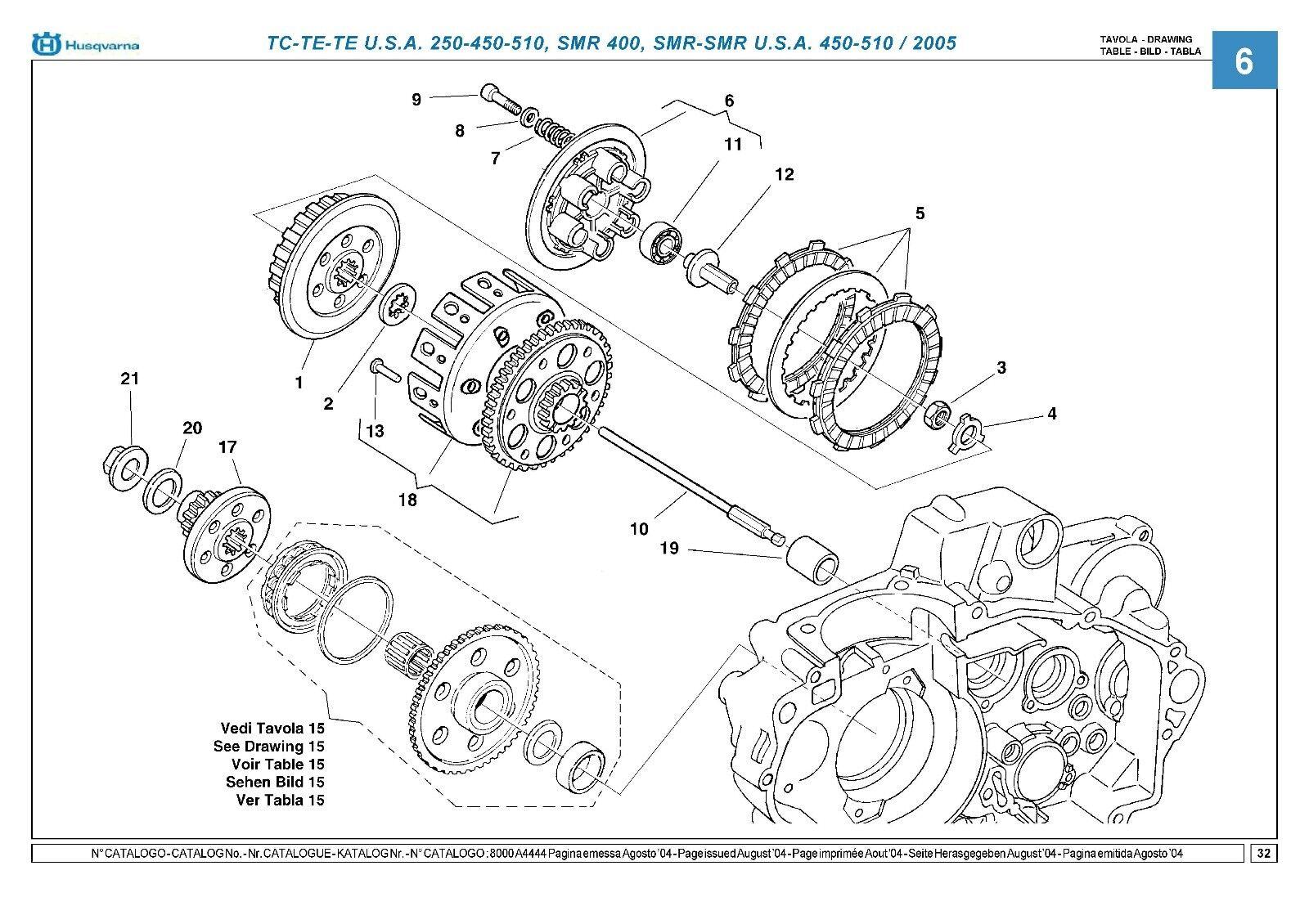 Husqvarna Parts Manual Book 2005 Te 250 450 510 Ebay Engine Diagram