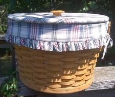 Sewing Basket LONGABERGER 3 Protectors & Lid with Plaid Liner 1995 Round EUC!