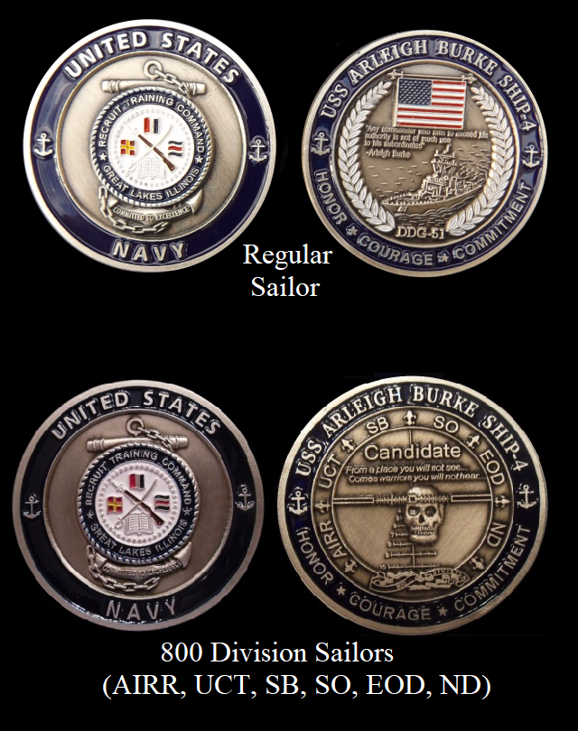 Details about ~ USS Burke ~ Ship 4 ~ US Navy Recruit Training Command  Challenge Coin ~