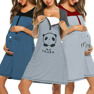 Women-Pregnant-Maternity-Summer-Cartoon-Splice-Nursing-Short-Sleeve-Dress-Pajama