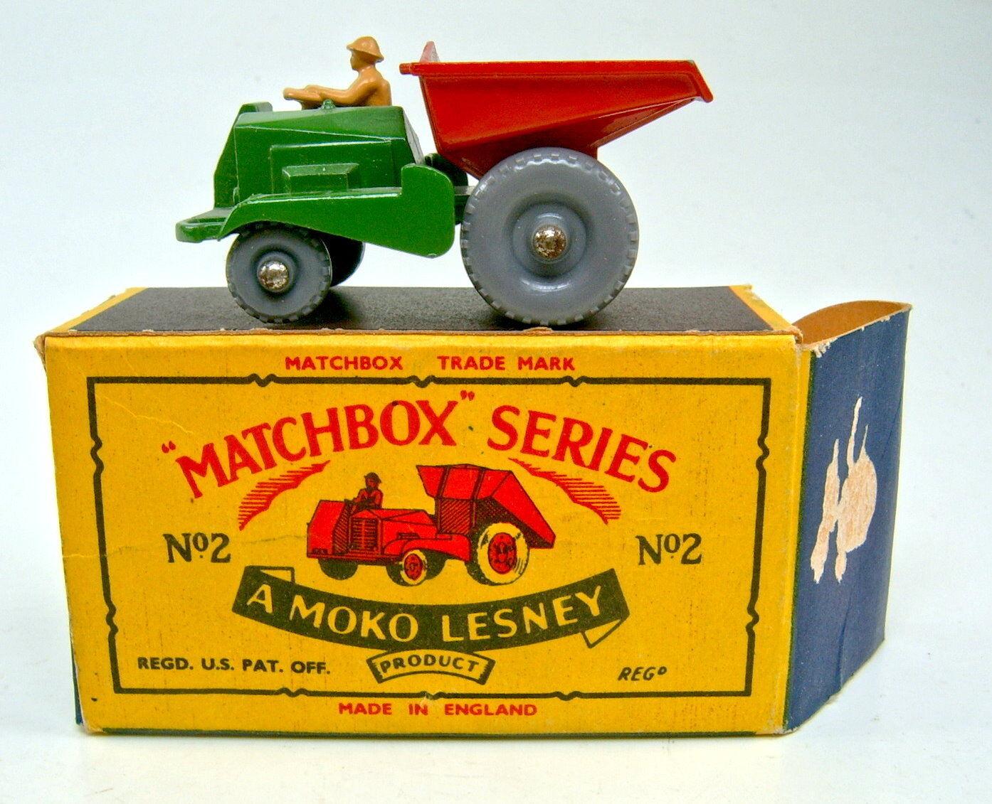 MATCHBOX RW 02b cassone verde & rosso ruote di plastica in Top