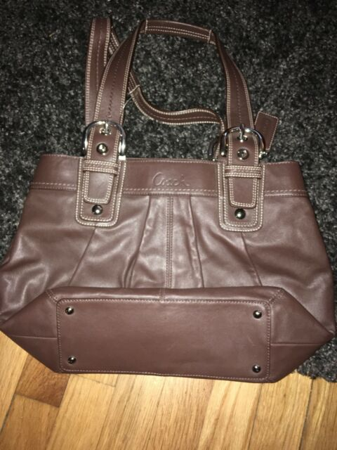 NWT Coach F15045 Pleated Brown Leather Satchel  bag SoHo Tote