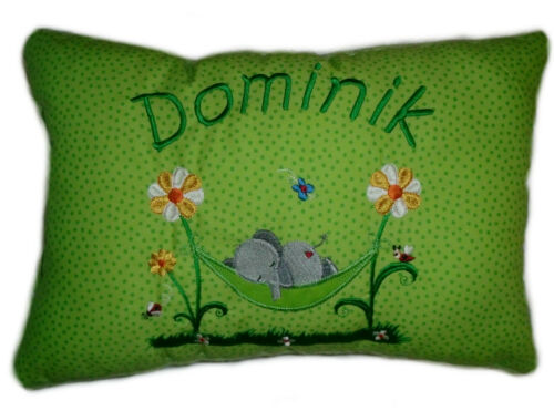 40 cm mit Namen bestickt ca Grünes Schmusekissen  *Kuschelkissen 25