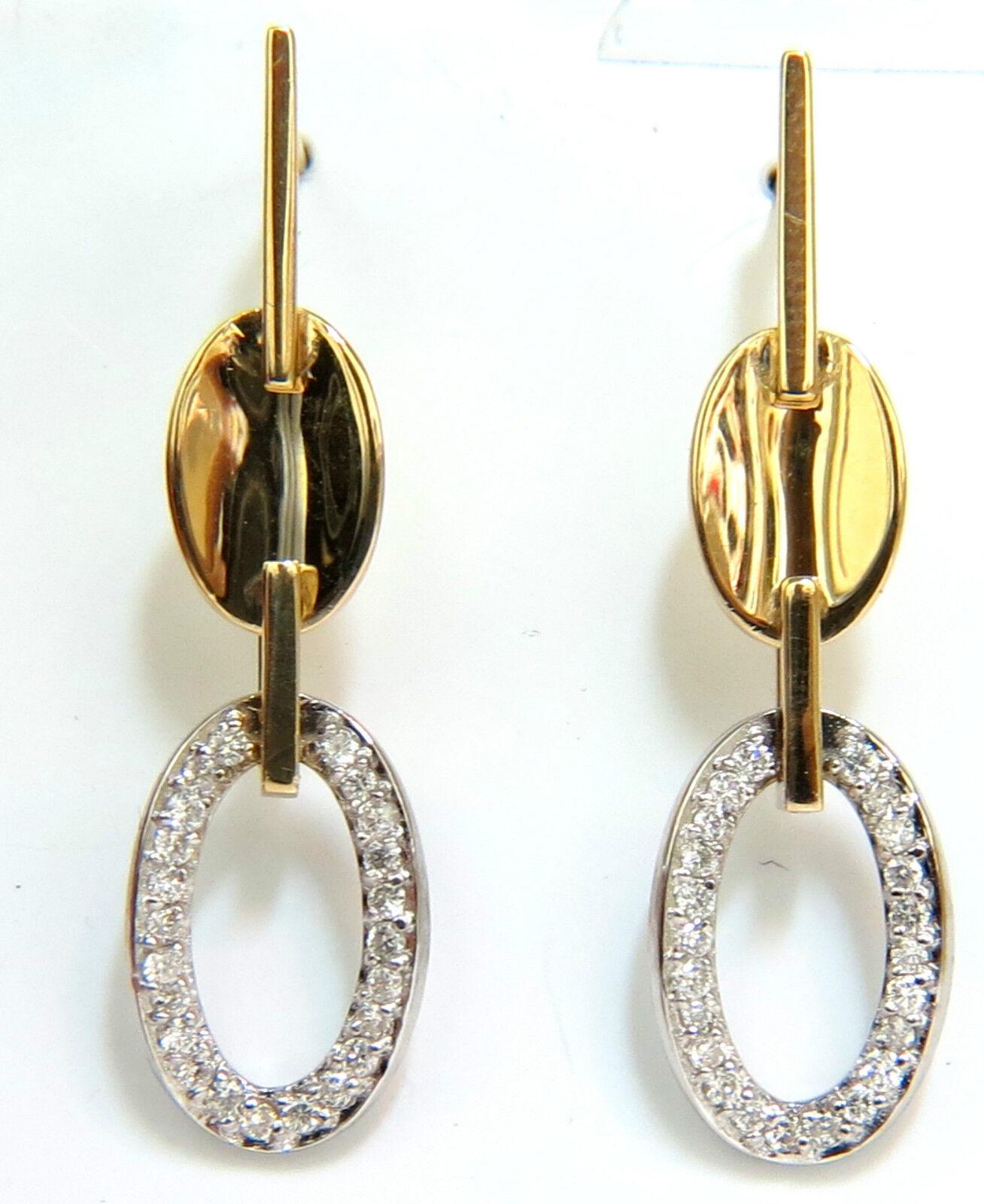 .40CT DIAMONDS DANGLE EARRINGS 14KT TWO TONED F VS MIRROR FINISH+