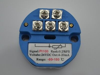 New PT100 Temperature Transmitter Sensor -50 ~ +150C OUT 4-20mA Power 24VDC