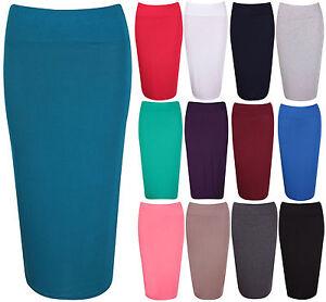 Womens-Stretch-Ladies-Plain-Wiggle-Pencil-Tube-Long-Office-Midi-Skirt-Plus-Size