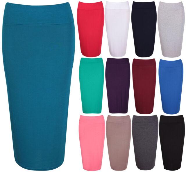 Womens Stretch Ladies Plain Wiggle Pencil Tube Long Office Midi Skirt Plus Size