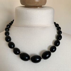 Necklace-Black-Beads-Vintage-Plastic-Graduated-80s-90s-Statement-Power