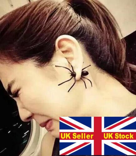 Araña De Aretes Negro Halloween Broma Truco Chiste espeluznante UK abril tontos