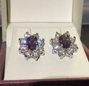Oval-purple-amethyst-sim-diamond-silver-white-gold-gf-stud-earrings-BOXD-Plum