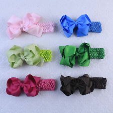 6pc 5.5inch Baby Girl Infant Hairband Hair Bows 1.5inch Headbands 430+51-K