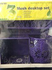 3pcs Purple Metal Mesh Office Desktop Set Memo Holder Letter Shelf Pencil Cup