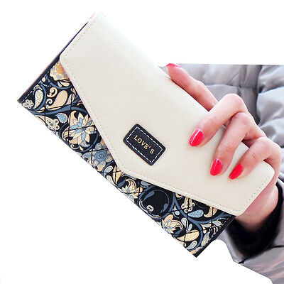 New Womens Ladies Envelope Leather Wallet Button Clutch Purse Long Handbag Bag