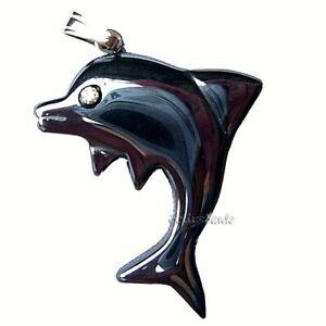 Dolphin-Pendant-Hematite-Black-Gemstone-Jewellery-Haematite-Fish-Pendant-Only