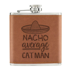 Nacho-Moyenne-Chat-Homme-170ml-Cuir-PU-Hip-Flasque-Fauve-Worlds-Best-Crazy-Drole