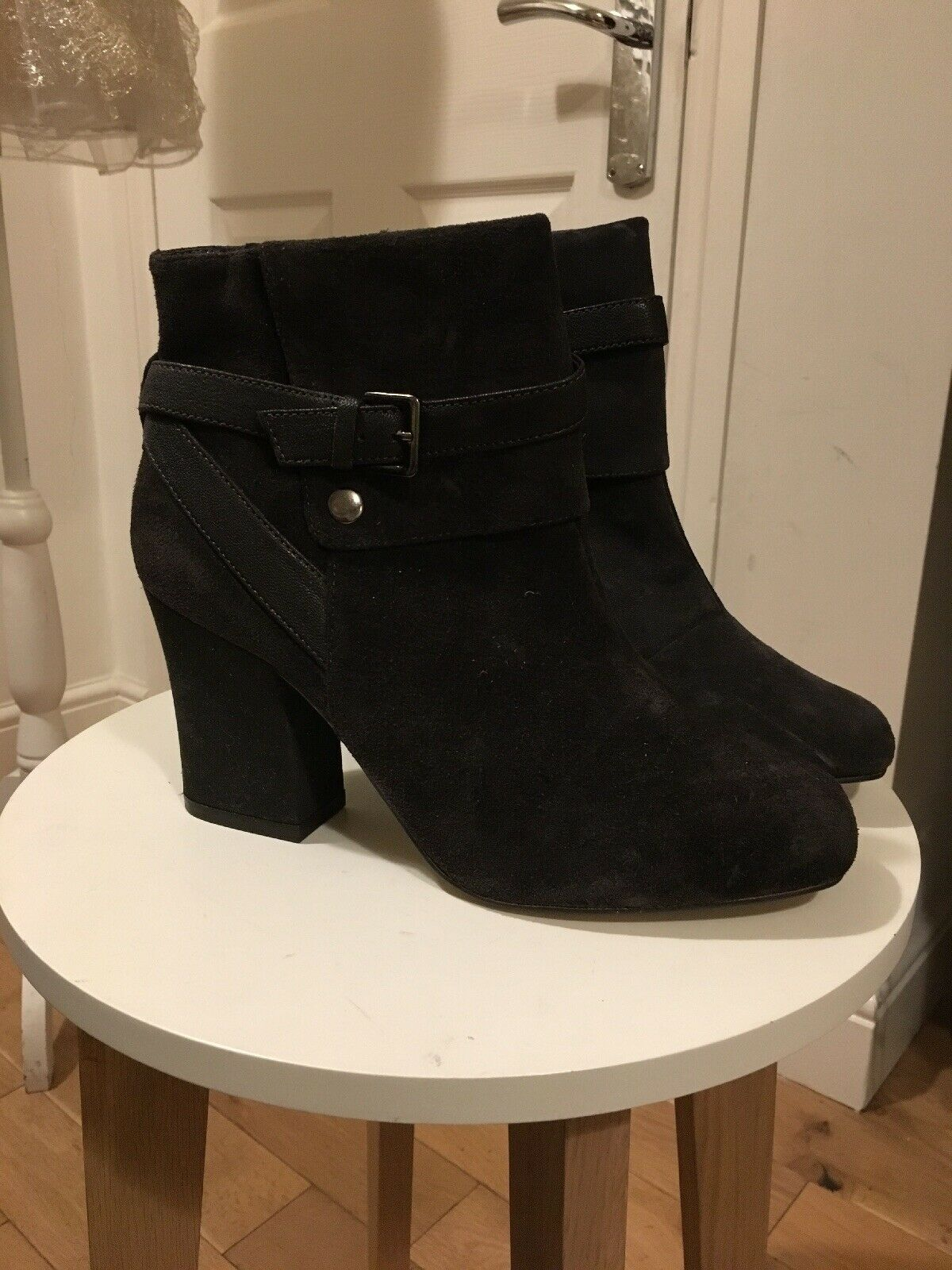 BNWT M&S Ankle Boots Size 7.5 100% Suede Leather Dark Grey New