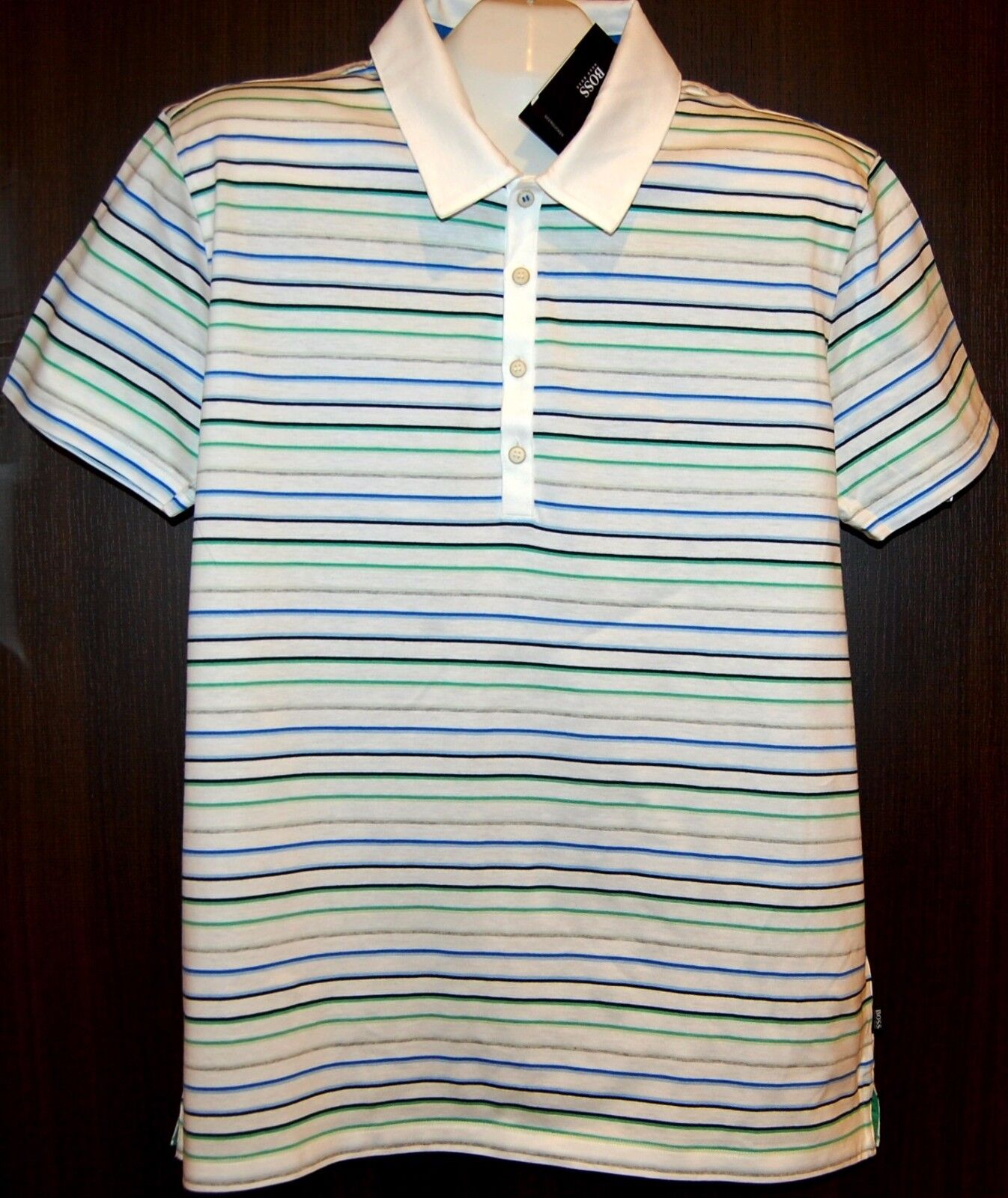 HUGO BOSS White Multi-color Stripes Cotton  Polo MEN'S Shirt Size 2XL NEW