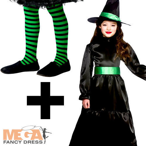 Wicked Witch Tights Girls Halloween Fancy Dress Fairytale Kids Childs Costume