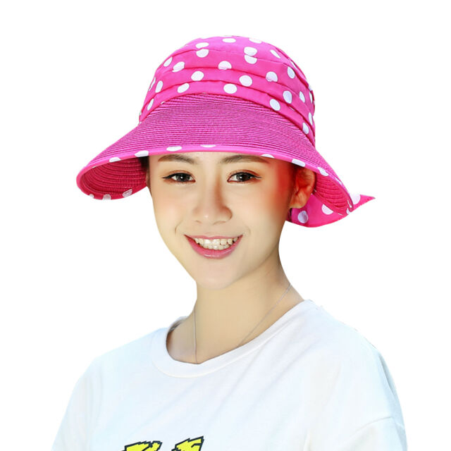 7c988e287e834 Fashion Women's Summer Straw Wide Brim Roll up Foldable Sun Beach Visor Hat  Cap