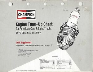 champion engine tune  chart american cars light trucks specifications ebay