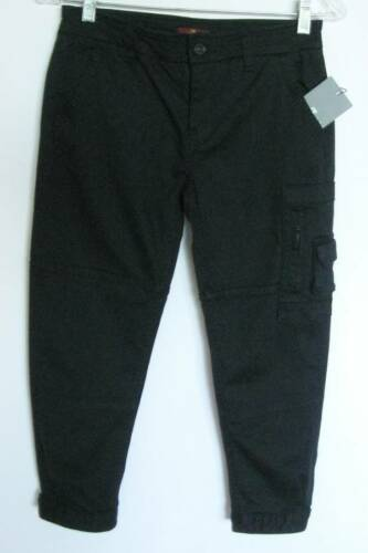 14 NWT 7 for All Mankind Girls Black Maggee Cropped Cargo Pants #7FBYG121