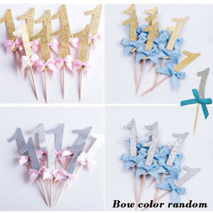 12PCS-GLITTERING-NUMBER-1-BOWKNOT-BIRTHDAY-CAKE-CUPCAKE-TOPPER-PARTY-SMART
