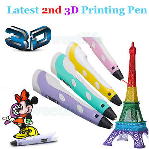 3D Printing Pen DIY 1st/2nd Crafting Doodle Drawing Arts Printer+3 ABS Filament