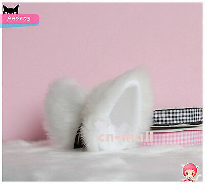 Lolita Sweet White / Black / Leopard / Pink Hair Clip Anime Cosplay Cat Ears