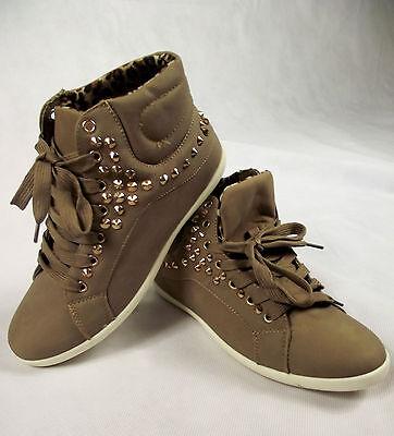 Damen Nieten Sneaker Sport Schuhe Turnschuhe Khaki 36 37 38 39 40 41 all4you