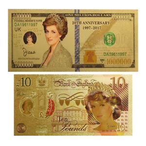 WR-24-k-Gold-Prinzessin-Diana-10-Pfund-und-1-Million-Dollar-Sammler-Banknote-Set