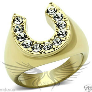 Men-039-s-Horseshoe-Gold-Plated-Top-Graded-Crystal-Lucky-Ring-8-9-10-11-12-13-TK717