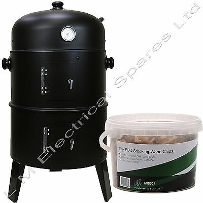 3 in 1 BBQ Charcoal Grill Barbecue Smoker & FREE Oak Smoking Wood Chips 3 Litre