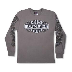 Harley-Davidso<wbr/>n T-Shirt Biker Long Sleeves Men Woman Tel Aviv Israel Gray