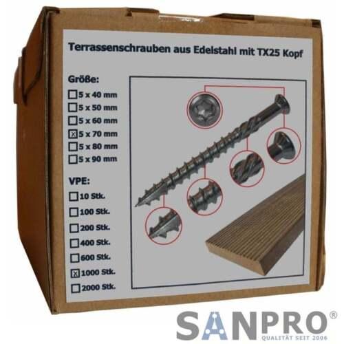 1000 x Terrassenschrauben 5x70 VA Edelstahl Torx Holzschrauben Terasen-Schrauben