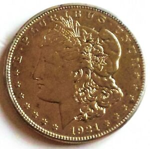 1921-S-Early-Morgan-Silver-Dollar-Gold-Finish-AU-Condition