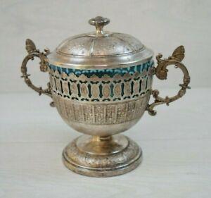 Antique-Collectible-German-Military-WMF-Fruit-Bowl-Cup-Original-Blue-Glass-1920s