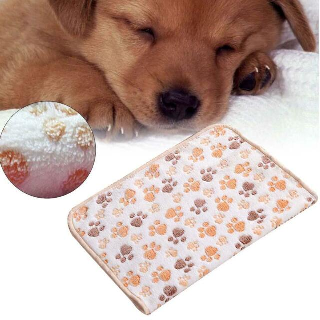 Warm Pet Mat Small Large Paw Print Cat Dog Puppy Fleece Soft Blanket Cushion AD
