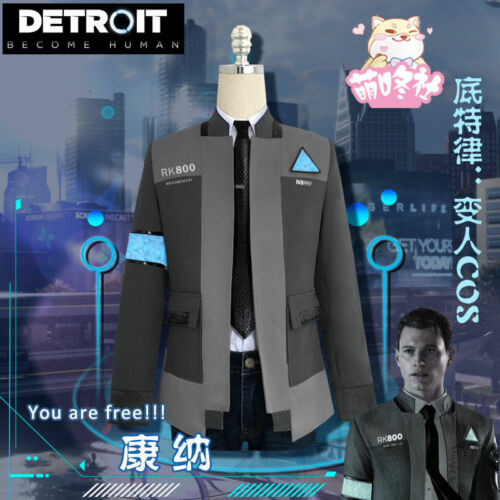 Detroit Tie+Pants Cosplay Costume Summer Become Human Connor RK800 Coat+Shirt