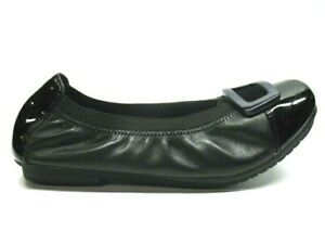 Earth-Eclipse-Black-Leather-Slip-On-Ballet-Flats-Shoes-Womens-Size-9B-EUC