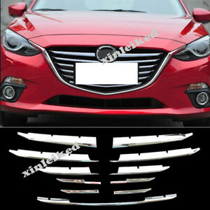 12X ABS Chrome Front Center Grille Grill cover trim For Mazda 3 Axela 2017