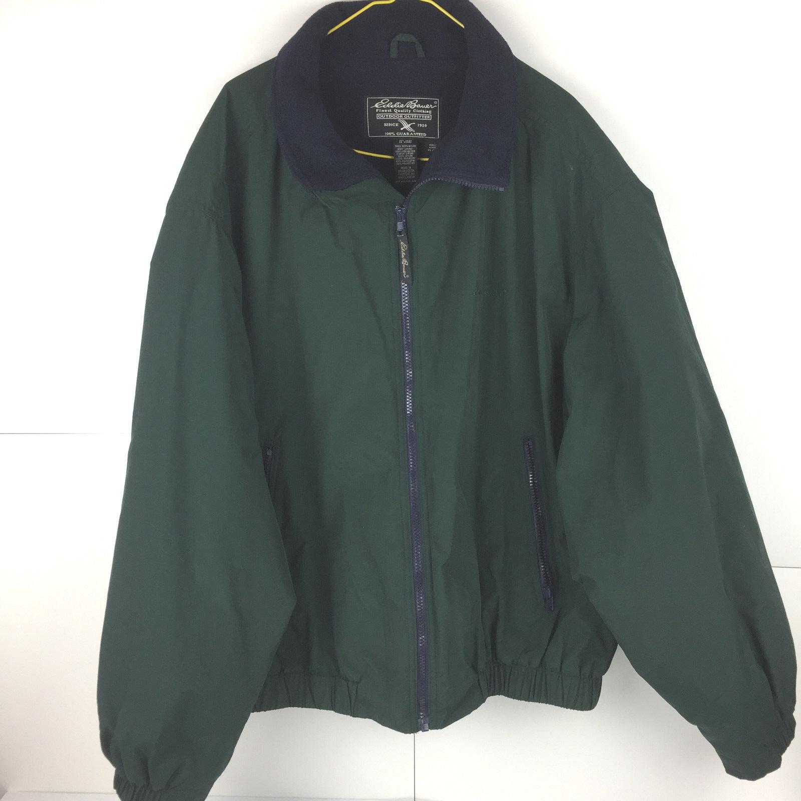 Eddie Bauer Green Full Zip Coat Men's SIZE XL WPL9647 Nylon Hunter Green