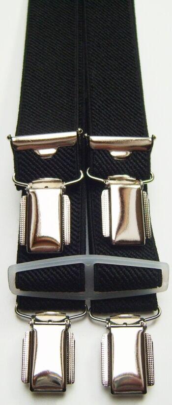 Hosenträger, schwarz, ab 60cm bis 180cm,Betttuchspanner,mit 4Clips,ca.25mm breit