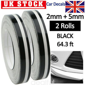 2X Black 1/2'' Pin Striping Stripe Vinyl Tape Decals Stickers Fr Cars Motorcycle