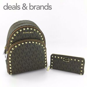 c9984f8bc39114 NWT MICHAEL KORS Abbey Studded Backpack & Jet Set Studded Wallet in ...
