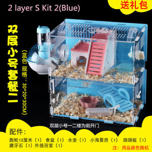 Hamster-Clear-Acrylic-Cage-1-2-Layer-Mice-Mouse-Gerbil-Castle-Rat-House-Toy-Bed