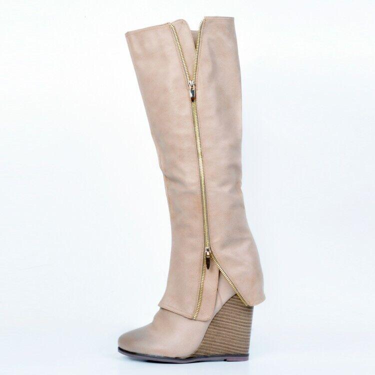 Gladiator Women's Wedge Heels Round Toe Zip Decor Knee High Boots shoes Plus Sz