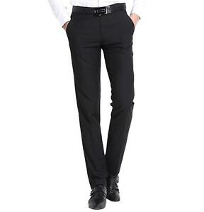 New TM Exposure Mens Black Formal Slim Fit Flat Front Slacks Trouser Dress Pants | EBay
